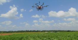 A UAV applying herbicides to a research field at Texas A&M University