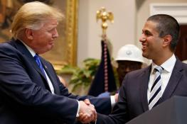 President Donald Trump shakes the hand of FCC Chair Ajit Pai