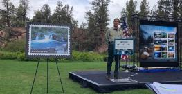 Pacific Northwest Regional Forester Glen Casamassa speaks at an event for the Wild and Scenic River stamp series