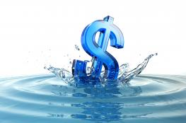 Dollar sign floating on water