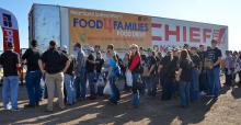 A semitrailer holds food donations from Husker Harvest Day visitors