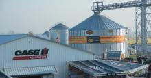 buildings and bins at Farm Progress Show