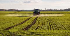tractor spraying small grains