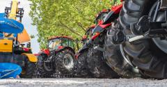 Row of tractor tires at dealership
