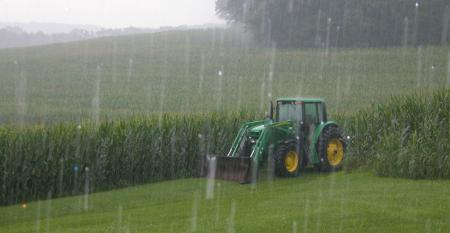 Heavy rain falls on corn crops with tractor parked adjacent to field