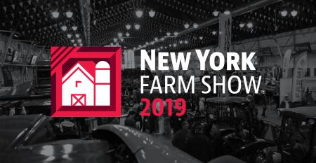 New York Farm Show Logo against darkened aerial photo of exhibit space