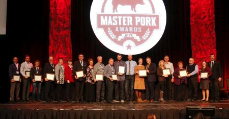 producers and partners on stage at 2019 Iowa Pork Congress