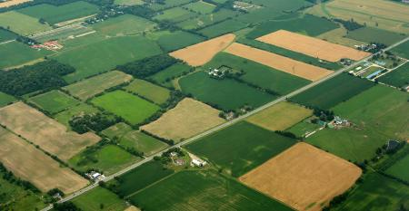 aerial view of cropland fields