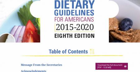 Screenshot of USDA dietary guidelines homepage