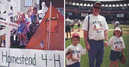 two young girls on 4-H float and same girls with adult at Busch Stadium