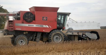 combine harvesting soybeans in Jay County, Indiana