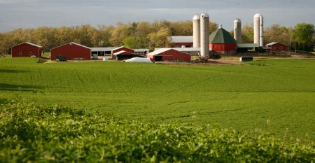 scenic farmstead with red barns and silos
