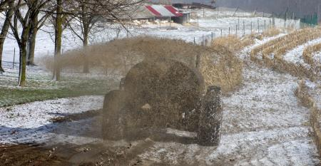 Manure is spread on a snow-covered field