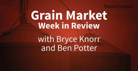 Image of grain bins with words Grain market week in review with Bryce Knorr and Ben Potter in white. Entire image has red tint.