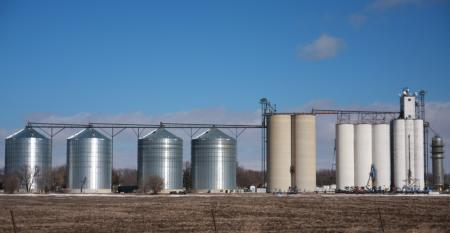 Grain elevator with little snow in the picture.