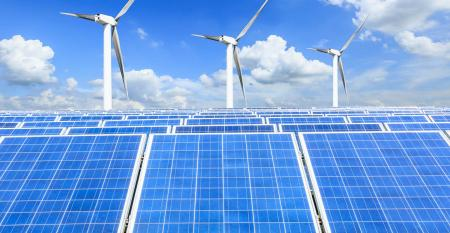 Solar panels and wind turbines